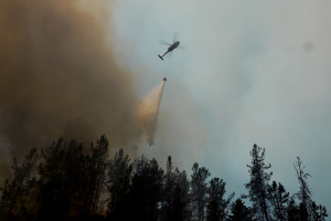 Helicopter putting out fire
